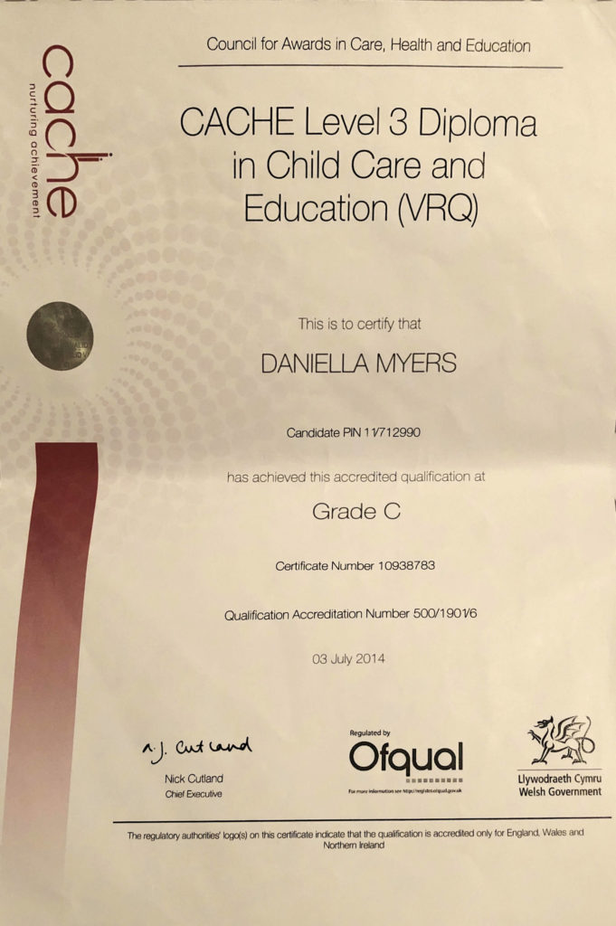 nvq 3 childcare course work